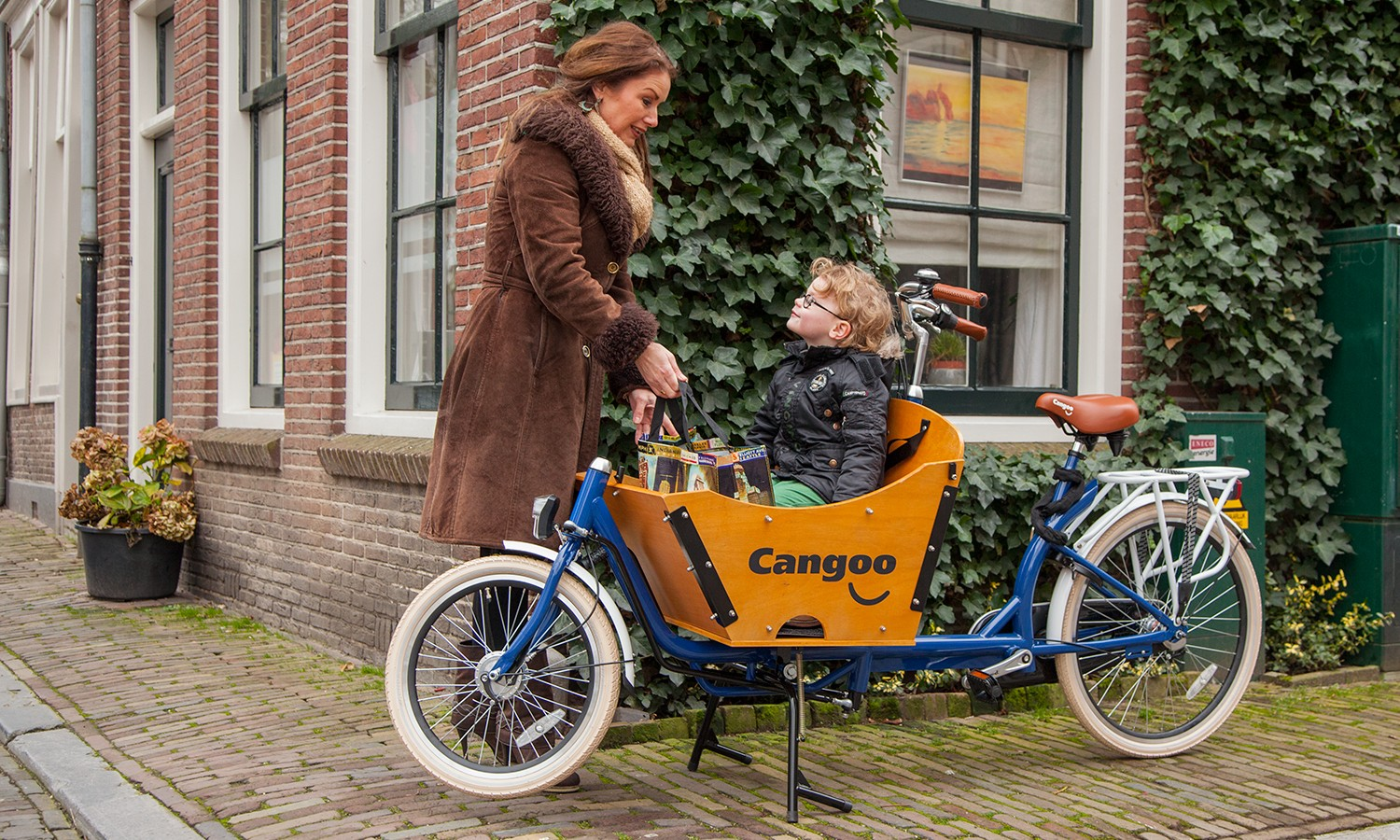 bakfiets cangoo downtown fahrrad blau kaufen auf. Black Bedroom Furniture Sets. Home Design Ideas